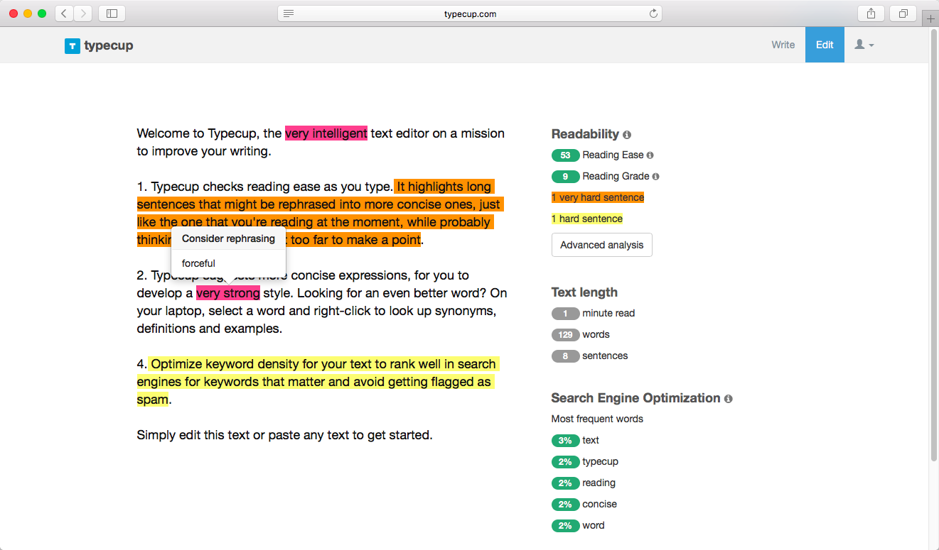 Typecup - The online text editor on a mission to improve